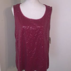 NWT Coldwater Creek shimmery tank top red 18